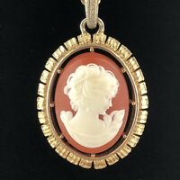 "Vtg Avon Signed Cameo Pendant Necklace Gold Tone 28"" Framed"
