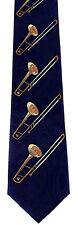 Brass Trombones Mens Neck Tie Music Blue Necktie Musical Instrument Trombone New