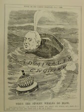 """7x10"""" PUNCH cartoon 1909 WHEN THE STORMY WHALES DO BLOW admiralty / beresford"""