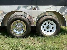 "(4) 15"" 2pc 5x4.5"" BP Chrome Trailer Wheel Hub Cap Rim Covers"