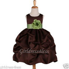 BROWN/SAGE GREEN  WEDDING FLOWER GIRL PICK UP DRESS 6M 12M 18M 2/2T 4 6 8 10 12