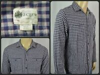 J.CREW Tailored Fit Blue Gray Plaid L/S Btn Front Casual Shirt For Work Mens Med