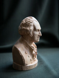 "Carved sculpture ""George Washington bust"", real cherry-wood, small size"