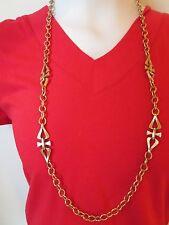 """*UNIQUE* Vintage CROWN TRIFARI  Gold Tone 36"""" Rolo Chain Necklace"""