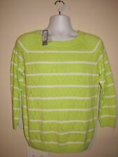 JCP Womens Sweater Size L Sharp Green/White Long Sleeve RTL $36 Crop neck