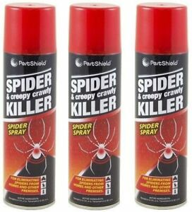 3x Creepy Crawly Spider Spray Insect Killer Eliminating Tick Pest Spiders 200ml