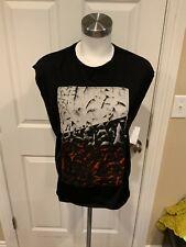 Helmut Lang Black Sleeveless T-Shirt w/ Abstract Silk Print, Size Small
