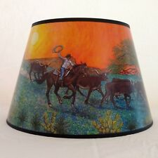 ALADDIN LAMP 14 INCH RIDE INTO THE SUNSET SCENIC PAPER SHADE - NEW