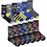 Boys 6 Pack Design Socks Gaming Cotton Rich Stripes Monster Coloured Socks