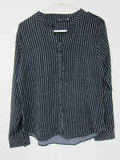 Noir Collarless Button Down Blouse - Womens Large - Black + White