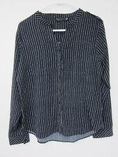 Noir Collarless Button Down Blouse - Womens Large - Black + White