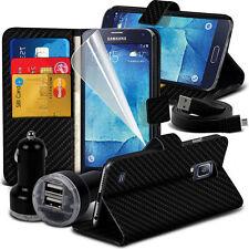 FIBRA DI CARBONIO Wallet Case Cover & Caricatore doppio per Samsung Galaxy S5 NEO