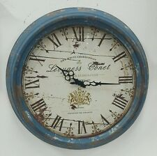 Rustic blue vintage style Wall clock w roman numerals rrp $94.50 home deco