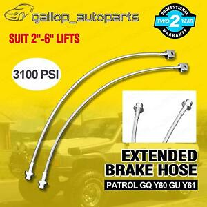 "Extended Brake Lines Stainless Braided for Nissan Patrol GQ Y60 GU Y61 2-6"" Lift"