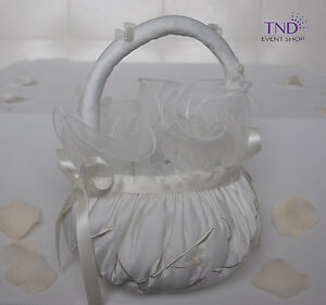 WEDDING CEREMONY SATIN FLOWER GIRL BASKET WITH ORGANZA FLOWERS AND PEARL CENTERS