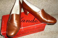 "Vintage Box Van Dal Leather Round Toe Copper Brown Court Shoe Size 4.5 Heel 2"""