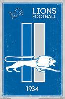 DETROIT LIONS - RETRO LIONS POSTER 22x34 - NFL FOOTBALL 13173