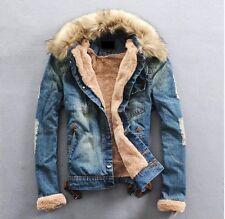 2016 NEW Mens Woman winter warm fur collar fur lining denim jacket coat
