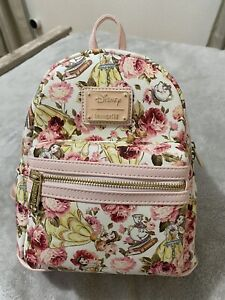 Disney Loungefly Beauty and the Beast Floral Belle Pink Mini Backpack