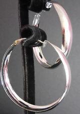 Hoop earrings silver plated 45mm diameter 70s 80s fancy dress party rave retro