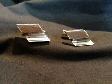 Vintage Men's Modern Style Sterling Silver and Wood Inlay Cuff Links
