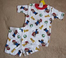 NINTENDO Super Mario *1-Up* Wht S/S Shirt Pajamas Pjs Boys sz 10/12
