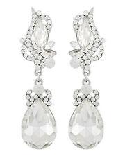 Designer Hochzeit Luxus ABI Lange Ohrringe Kristall Klar Transparent 6,8 cm L