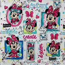 BonEful Fabric Cotton Quilt VTG White Pink Disney Minnie Mouse Girl Art FQ SCRAP