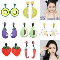 Women Fruit Lemon Cherry Vegetables Ear Stud Pendant Dangle Earrings Jewelry