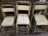 Stack of (10) Ten Antique Vintage Bistro Chairs Tolix Style