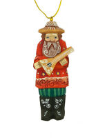 Hand Made Russian Christmas Ornament Man Hand Carved Hand Painted 4 1/2 Inch