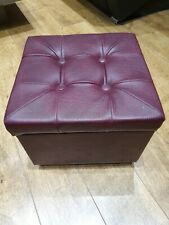 Red Burgundy Faux Leather Storage, Footstool, Pouffe foot stool retro