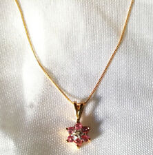 9ct Gold Pink Sapphire & Diamond Pendant Necklace & Chain - Hallmarked with Box