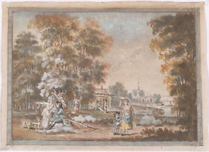 """""""By Lake"""", German Rococo Gouache, Middle of 18th Century"""