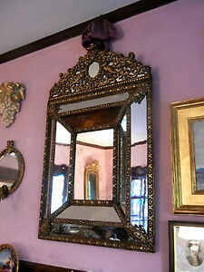 Antique 19th C. Dutch Repousse Mirror, Brass Overlay on Mirror on Wood. Gorgeous