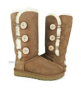 UGG Bailey Button Triplet II Chestnut Fur Boots Womens Size 10 *NIB*