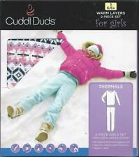 Cuddl Duds Girls Thermal Layers 2 Pcs Long Sleeve Pant S 6-6X Ivory Reindeer New