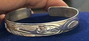 Northwest Coast Native Silver Cuff Bracelet Signed Kwakiutl