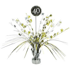 40th Birthday Spray Centrepiece Table Decoration Black Silver Gold Age 40 Party