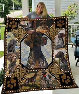 3D German Shorthaired Pointer Dog Fleece Blanket, Quilt Blanket Print in US NEW