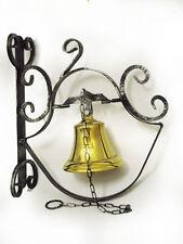 Campana campanello da parete in ottone e ferro battuto per ingresso