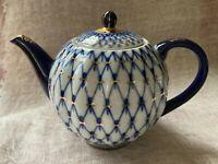 "Lomonosov Imperial Russian Cobalt Net 22kGold Porcelain Teapot Small 5""/13cmTall"