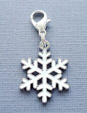 Christmas Snowflake Clip On Charm Dangle Fits Link Chain, floating locket C172