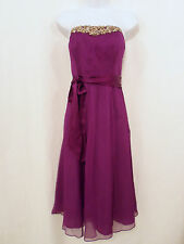 Monsoon, UK 14, Purple, Pure Silk Chiffon Dress, Optional Straps, Wedding, NEW