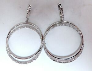 1.20ct natural diamonds loop rings dangle earrings 14kt gold