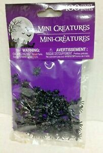 Halloween Confetti Miniature 3D Creatures Black Ants Creepy Scary Spiders table