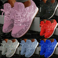 Women Sequin Glitter Lace Up Fashion Shoes Comfort Athletic Rhinestone Sneakers