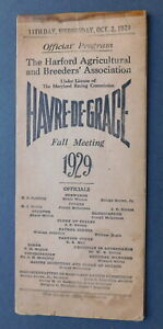October 2, 1929 SUN BEAU (HoF) Program - HAVRE-DE-GRACE CUP