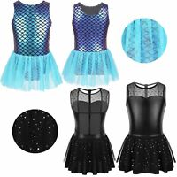Girls Shiny Metallic Ballet Dance Gymnastics Leotard Dress Glitters Dancewear