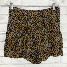 New Free People Womens Leopard Print Shorts Size Med Animal Crossover Tulip Hem
